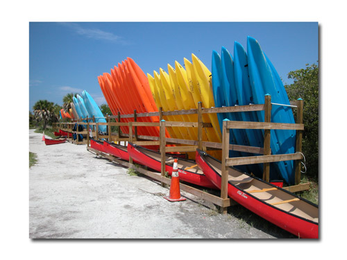 Lots of kayaks and canoes to choose from