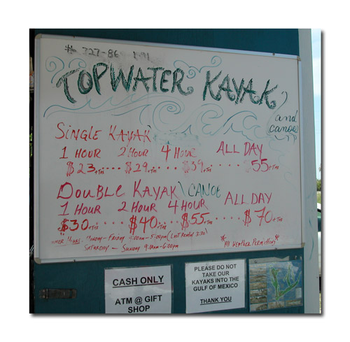 Topwater Kayak Outpost information