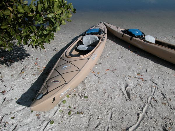 Kayaks for rent at Fort Desoto County Park.