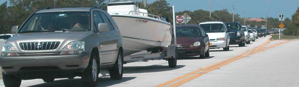 Traffic waiting to enter Fort Desoto Park on a weekend.